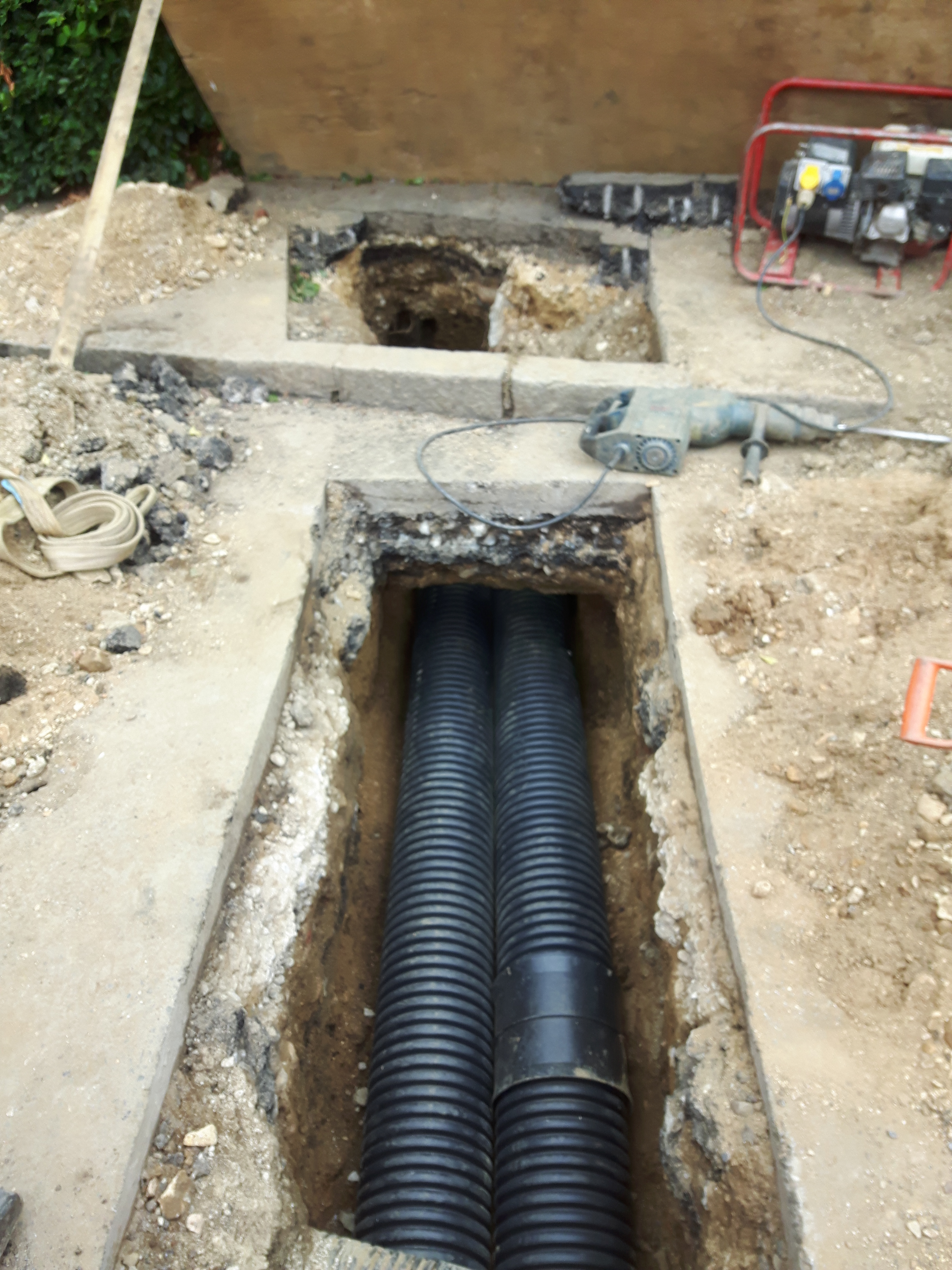 Ducts installed into trench at Belton House