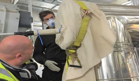Biomass flue cleaning